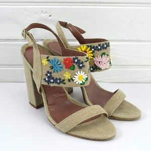 TABITHA SIMMONS FLORAL EMBRODIERED SANDAL #147-55